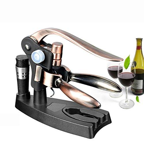 Wine Opener,Multifunctional Corkscrew Tool Kits,Bottle Opener+Foil Cutter+Wine Stopper+Extra Spiral+Stand,For Sommeliers/Waiters/Bartenders