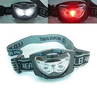3 LED blanche + Phare Rouge phares Hands Free tête de la torche Camping Chasse Lamp