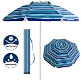 Aclumsy 7' Portable Beach Umbrella with Tilt and Silver Coating Inside, Integrated Sand Anchor and Air Vent Parasol Sun Shelter, Carry Bag Included (Blue/White Stripe)