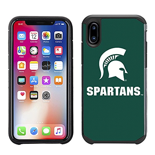Prime Brands Group Textured Team Color Cell Phone Case for Apple iPhone X - NCAA Licensed Michigan State University Spartans by Prime Brands Group