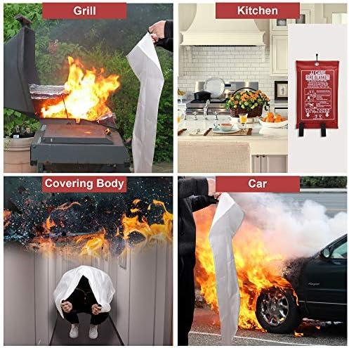 2 Pack Fiberglass Fire Guardian Blanket for Home Mall COITEK 47 X 47 Fire Blanket Fire Suppression Blanket Emergency/Survival Outdoor