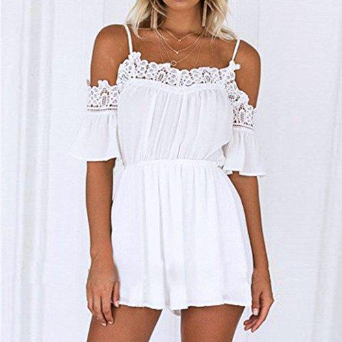 Yogogo Schulterfreie Kleider, Sommer Aus Schulter Clubwear Solid Playsuit Bodycon Party Overall für Frauen Mädchen