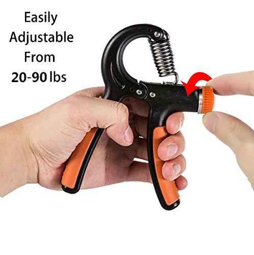 Hand Gripper | Fledo Strengthener Grip Exerciser Adjustable Resistance 20 to 90 Lbs | Arm Trainer Best for Finger and Forearm Strength (1pc, Black Orange)