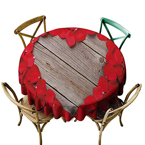 (purple tablecloth 54 inch Rose,Valentines Rose Petals on Wood Planks Forming a Heart Shape Romance Love Passion,Vermilion Cocoa Dust-Proof Table Cover for Kitchen Dinning Tabletop Decoration )