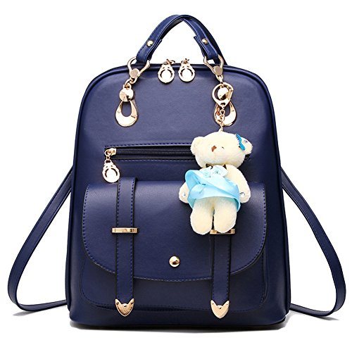 Sappblue with Backpack Bag Gift College Bear School Leather Christmas Travel Sweet Decoration PU Outdoor Girls fqgwgaF6
