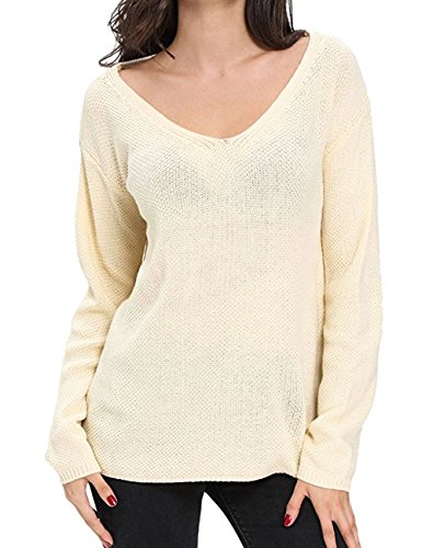 ALAIX Women's Casual Loose V Neck Knit Loose Top Autumn Sweater-Apricot, One Size