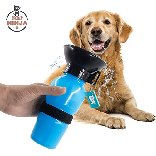 PET NINJA Zero Mess,No Spill Dog Water Mug - Portable Pet Drinking Bottle With Velcro Strap Great for Walking, Travelling 20oz