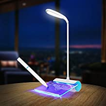 BolerGifts Desk Lamp Eye-Care Table Lamps Rechargeable LED Reading Lamp with Touch Sensor and Message Board(blue)