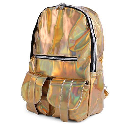 PU Leather Rucksack Gold Daypack Hologram Silver SQLang Holographic Handbag Bookbag Glitter Casual Shoulder Women Backpack Bling School wTWqFWXp