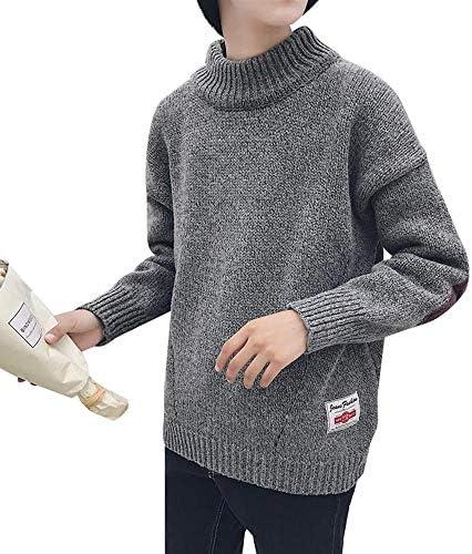 メンズ セーター モックネック ニットセーター オーバーサイズ トップス カジュアル エルボーパッチ付き スクール