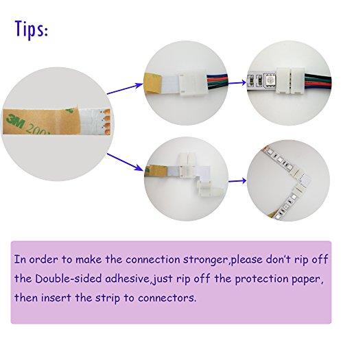 FSJEE 10mm 5050 RGB LED Strip Light Connectors Kits with 10PCS L Shape 4 Pin Right Angle Corner Solderless Connector and 10PCS Solderless Wire 4 Pin 10mm Wide Strip to Strip Jumper by FSJEE (Image #6)