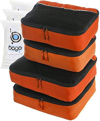 Suitcase Organizer 4pcs Mesh Pouch Best Set - Plus 6pcs Organizer Bags (ORANGE)