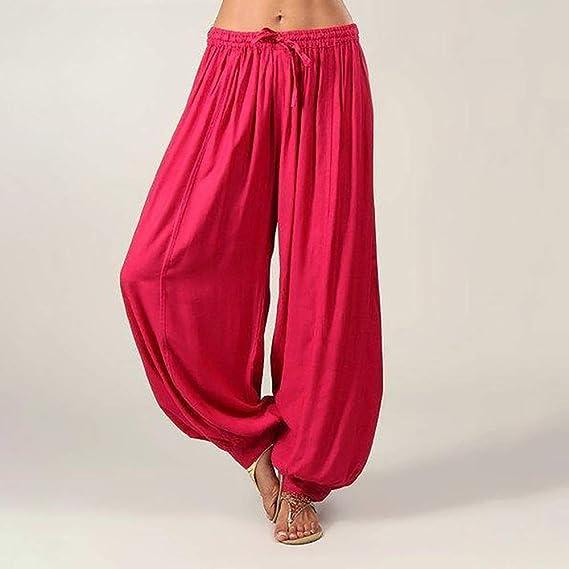 Gusspower Mujer Suave Pantalones de Fitness Algodón y Lino Casual Tallas Grandes Harem Pantalón Polainas para Danza Yoga Pilates