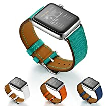 Balerion-New textured Single tour watch band ,Luxury Textured Genuine Leather Watch Band for iWatch Apple Watch Series 1 Series 2-38MM Single tour Peacock Blue
