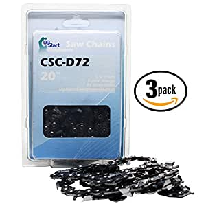 "3-Pack 20"" Full Chisel Saw Chain for Partner S-50 Chainsaws - (20 inch, 3/8"" Pitch, 0.050"" Gauge, 72 Drive Links, CSC-D72)"