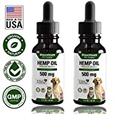 [2-Pack] Pet Hemp Oil for Dogs and Cats - 100% Organic Pure Dog / Cat Hemp Oil for Stress, Anxiety, Calming Support & Relief - Natural Omega 3 and Supports Hip & Join Health for Pets