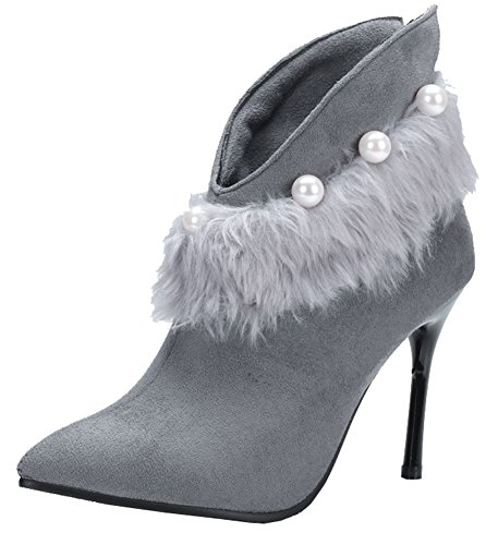 Showhow Womens Chic Pearl Pluizig Bont Puntig Hoog Stilettos Party Booties Grijs