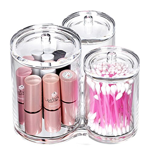 iLory 3pc Clear Acrylic Cotton Ball & Swab Holder Organizer Makeup Cosmetics Pads Q-tip Storage Container Box Case by iLory