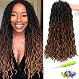 18 Inch Goddess Faux locs Crochet Hair 6 Packs/Lot Soft Gypsy Loc Wavy Crochet Braids Dreadlocks 3 Tone Ombre Curly Wavy Twist Braiding Hair Extensions 24 Strands/Pack African Roots Braid(#1B/30/27)