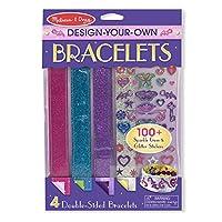Melissa & Doug Design-Your-Own Bracelets (Artes y manualidades, cierre de lengüeta fácil, reversible y ajustable, 4 pulseras de doble cara)