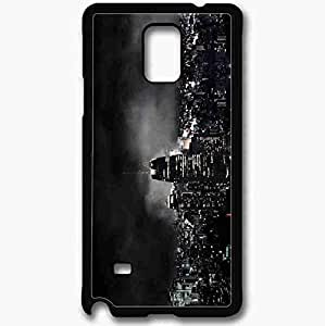 Unique Design Fashion Protective Back Cover For Samsung Galaxy Note 4 Case Night Lights Ships Skyscrapers Black