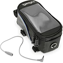 iGadgitz Black Reflective Strip Water Resistant Front Top Tube Pannier Bike Frame Storage Bag with Mobile Phone, iPod, MP3, GPS Holder