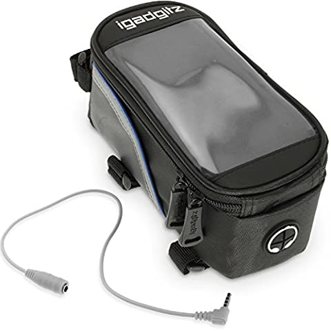 iGadgitz Small Black Reflective Strip Water Resistant Front Top Tube Pannier Bike Frame Storage Bag with Mobile Phone, iPod, MP3, GPS