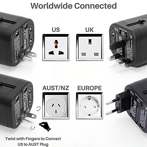 Travel Adapter, IKOCO Worldwide All in One Universal Power Converters with 4.5A Quad USB Fast Charging Ports International Travel Charger Wall AC Power Plug Adapter Wall Charger for Cell Phone Laptop by IKOCO (Image #2)