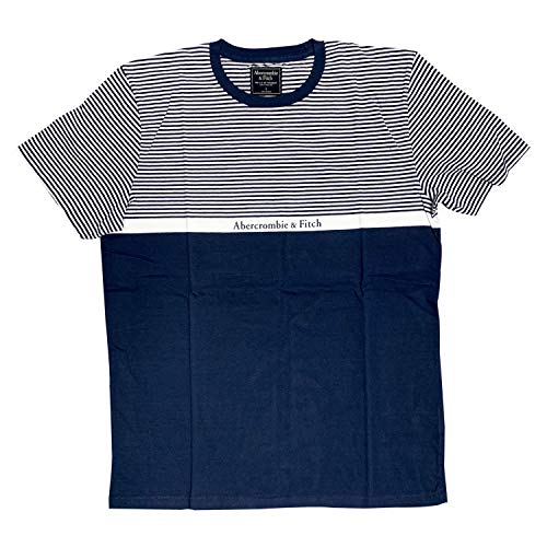 - Abercrombie & Fitch Printed T-Shirts for Mens 100% Cotton (Navy/Stripes, L)