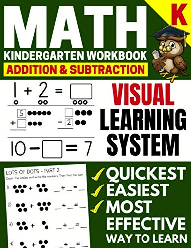 Math Kindergarten Workbook: Addition and Subtraction, Numbers 1-20, Activity Book with Questions, Puzzles, Tests (Grade K Math Workbook)