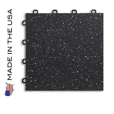 Gym Flooring Interlocking Rubber Floor Tiles - Black w/ Confetti Flecks - 27 Sq.ft