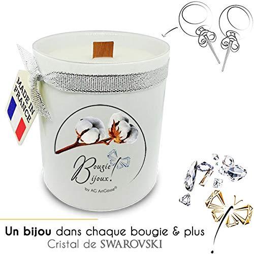 Bougie Bijoux fleur de coton avec Cristal de Swarovski élément femme. Parfum de Grasse et mèche en bois. Le bijou caché se dévoile après 30 minutes ! Coffret CADEAU Boucles d'Oreilles