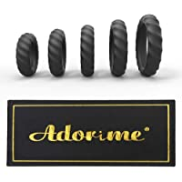 Silicone Cock Rings Set Sex Toys – Adorime Premium Stretchy Erection Enhancing Penis Ring Training Sex Things for Men and Couples (5 Rings Set)
