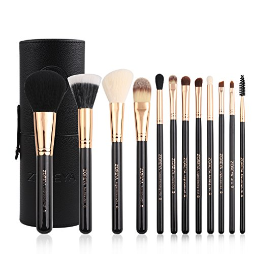 Zoreya Premium Travel makeup brush set 12 pieces essential Cosmetic tools Synthetic Hair Foundation Powder Eye Cosmetic brushes With Black Holder For Valentines Gifts by ZOREYA