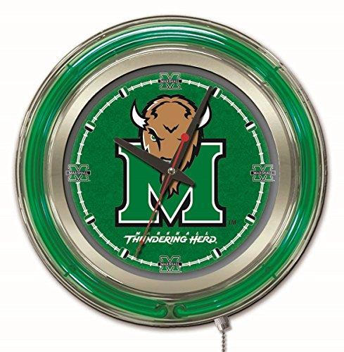 - Holland Bar Stool Company NCAA Marshall Thundering Herd Double Neon Ring 15-Inch Diameter Logo Clock