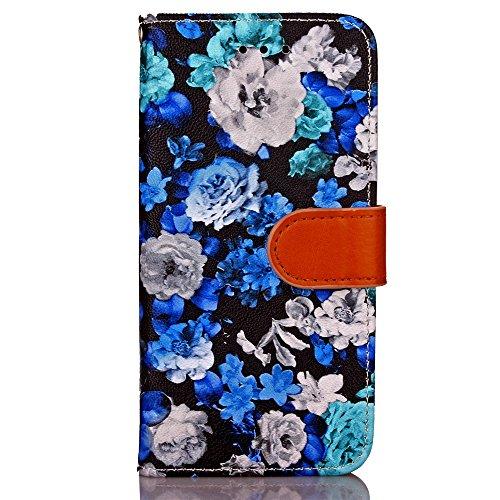 JIALUN-carcasa de telefono Cuadro de tinta de las flores Patrón de la caja de cuero Horizontal Flip Funda de la caja Funda de la carpeta Folio con Marco de fotos para Apple iPhone 6 Plus ( Color : 3 ) 2