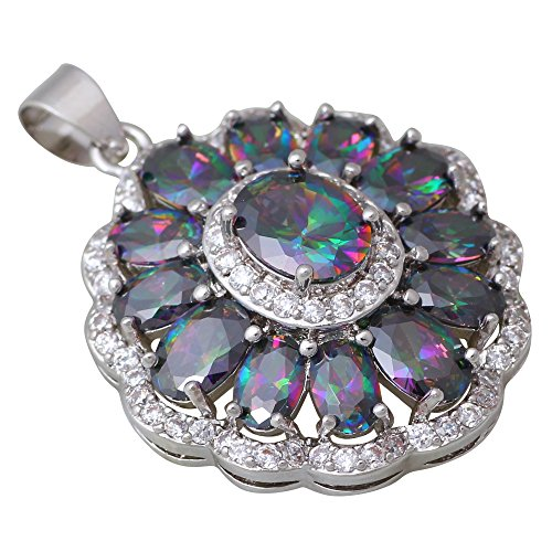 Mystic Topaz Pendant Necklace (Women's 925 Sterling Silver Mystic Rainbow Topaz Necklaces pendants jewelry)