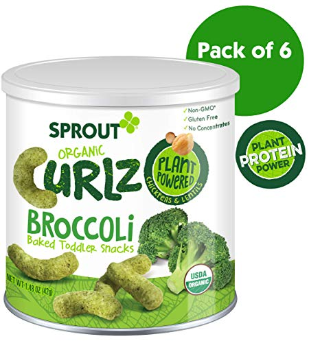 (Sprout Organic Curlz Toddler Snacks, Broccoli, 1.48 Ounce Canister (Pack of 6))