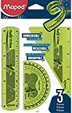 Maped Twist'n Flex Unbreakable Ruler 3-Piece Kit, Centimeters and Inches, Colors may vary (895026)