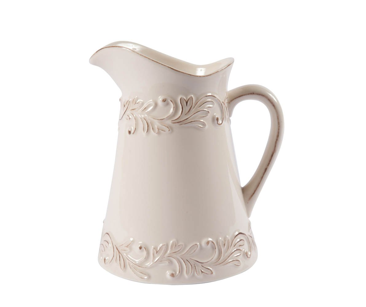 Antique Ivory Rose Poterie de Cuisine Pitcher