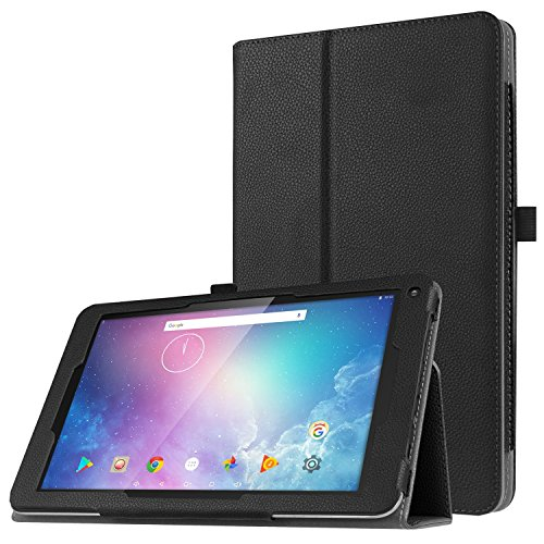 WkHocYHm Dragon Touch V10 Premium Slim Fit PU Leather Case Cover Stand for Dragon Touch V10 Tablet (Black)