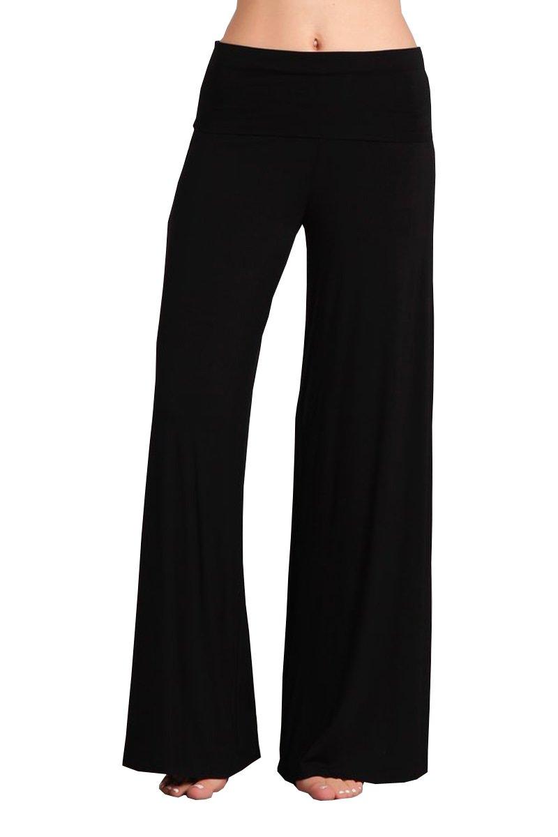 HEYHUN Plus Size Womens Tie Dye Solid Wide Leg Bottom Boho Hippie Lounge Palazzo Pants - Black - 1XL