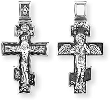Croix Crucifix Russe Orthodoxe Grecque en argent sterling Archange Saint Michel DM39