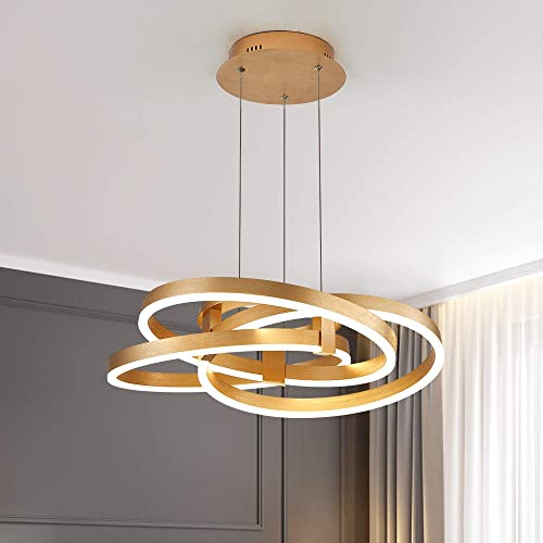 Maxax Modern LED Chandelier Gold Acrylic Pendant Light with 3 Ring for Dining Room,Bathroom, Bedroom,Living Room. Gold, 3 Ring