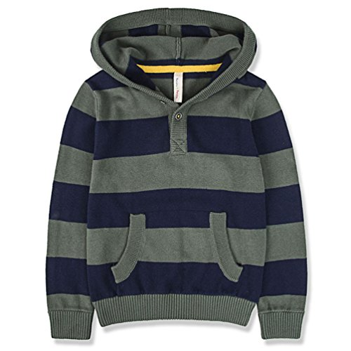 Benito & Benita Boys' Pullover Sweater Cotton Sweatshirt Casual Hoodie Green/Navy for 2-12Y