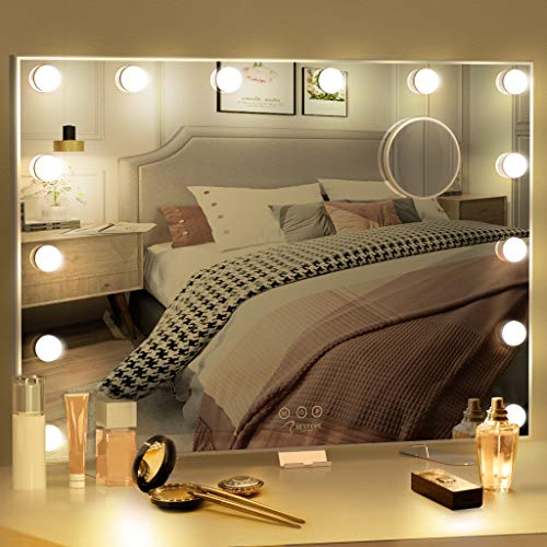 BESTOPE Vanity Mirror with Lights Hollywood Mirror Large Lighted Vanity Mirror with 3 Color Lights,USB A and USB C Outlet with Phone Holder,24x20 Inch,,Touch Control,Sturdy Metal Frame Design