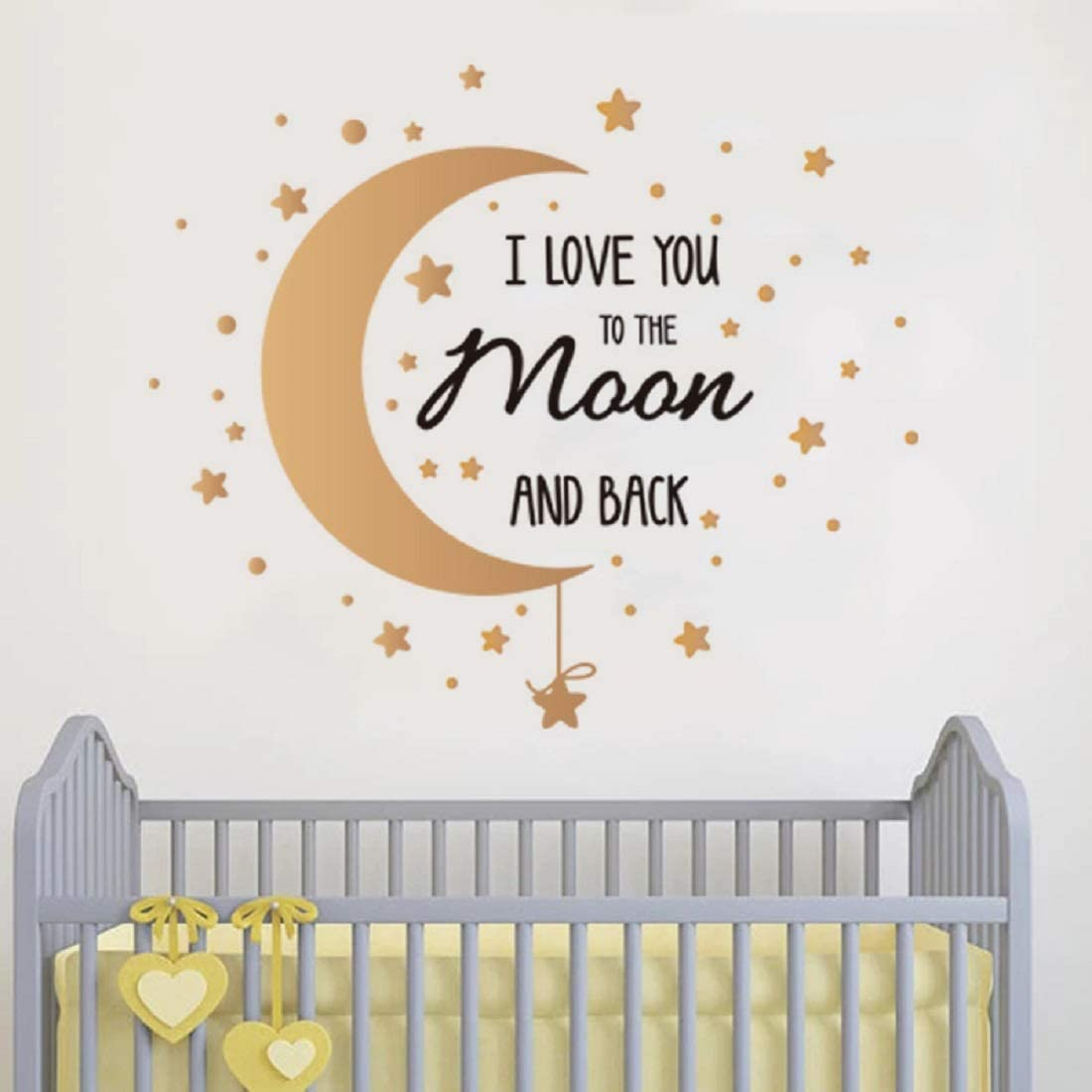 I Love You to The Moon and Back Quotes Wall Decals Moon Stars DIY Sticker Art Mural Sayings for Home Nursery Decor