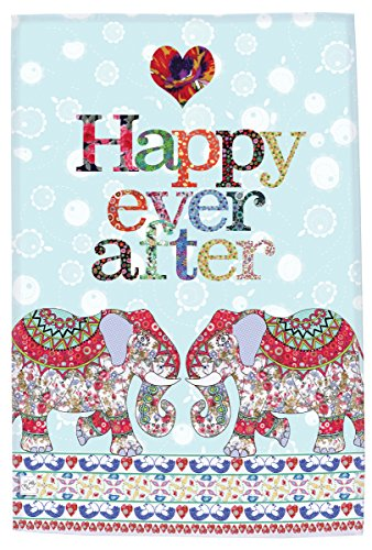 MollyMac Elephant Happy Ever After Tea Towel Cute Kitchen Home Decor. Boho Dish Cloth. Inexpensive Engagement Gift, Present for Wedding, Birthday, Christmas UK Made British -