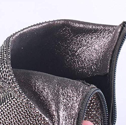 dingxue zip argenteo joker tacco ha breve di ma 10cm KOKQSX sottile tallone testa 36 stivali q7vzwA6Z