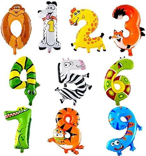 Freessom 10pcs Ballon Gonflable Chiffre Numero 0 9 Dessin Animaux